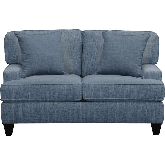 "Living Room Furniture - Conner Track Arm Sofa 63"" Milford II Indigo  w/ Milford II Indigo Pillow"