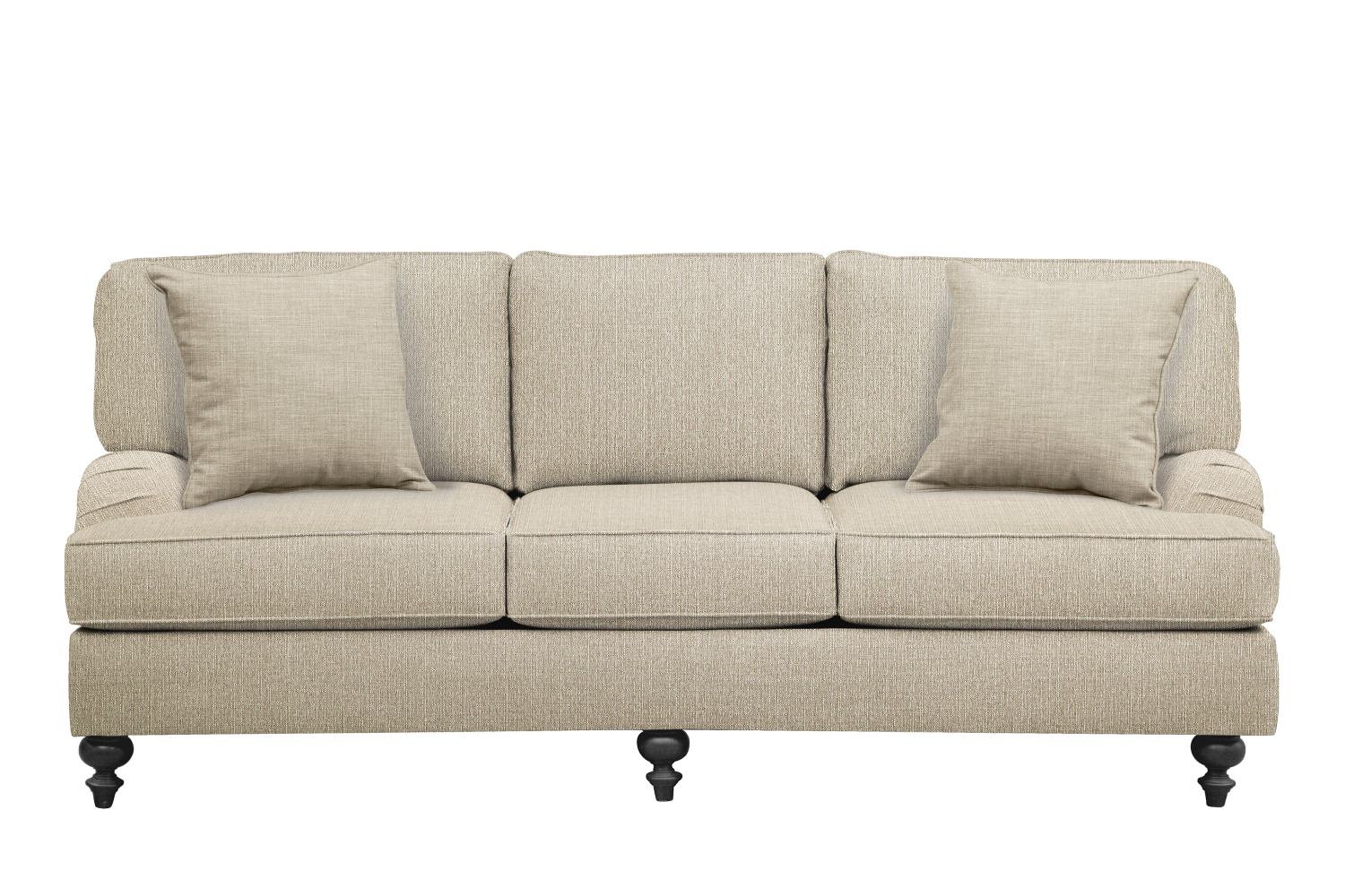 "Living Room Furniture - Avery English Arm Sofa 86"" Depalma Taupe w/ Depalma Taupe  Pillow"