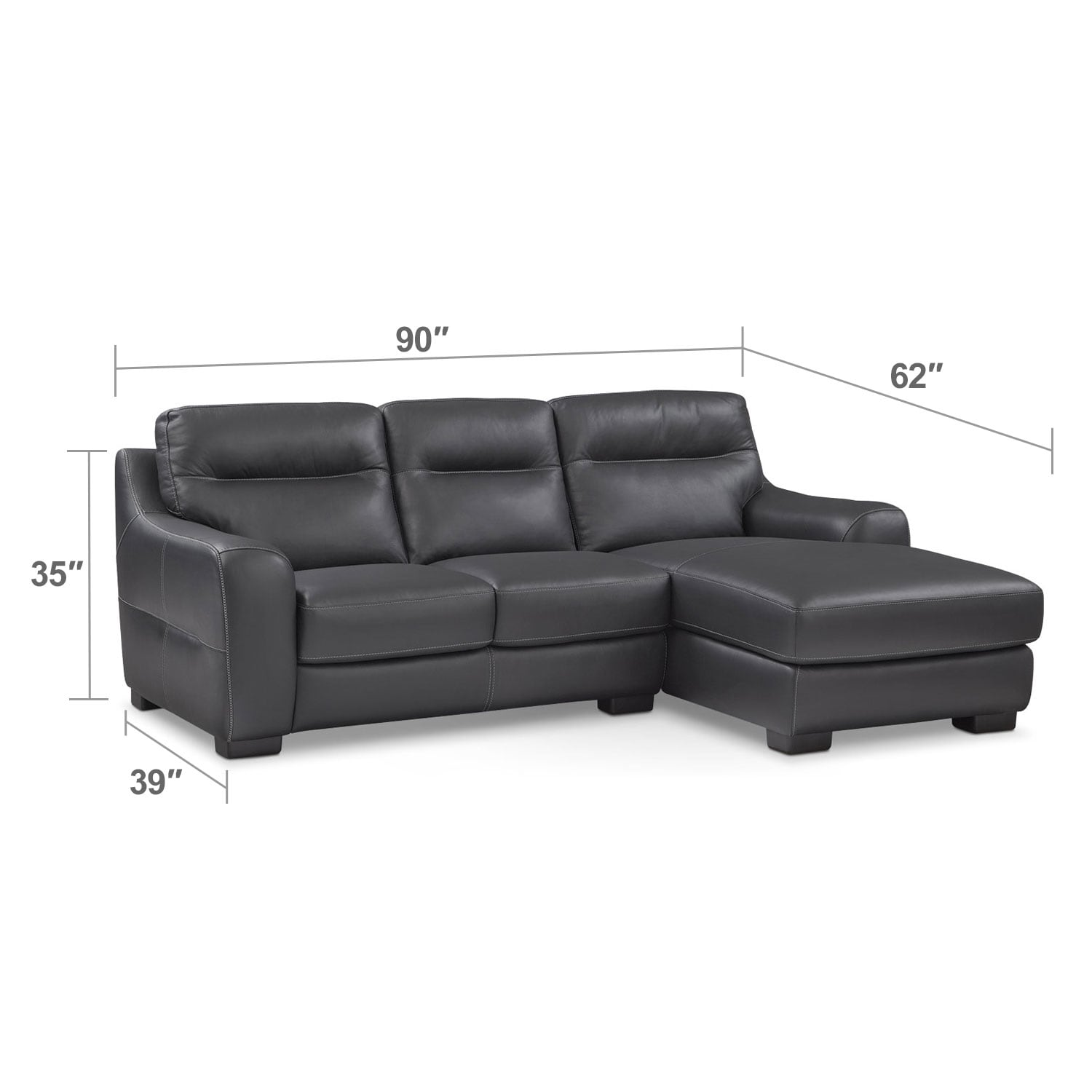 Living Room Furniture - Rocco 2-Piece Sectional with Right-Facing Chaise - Black