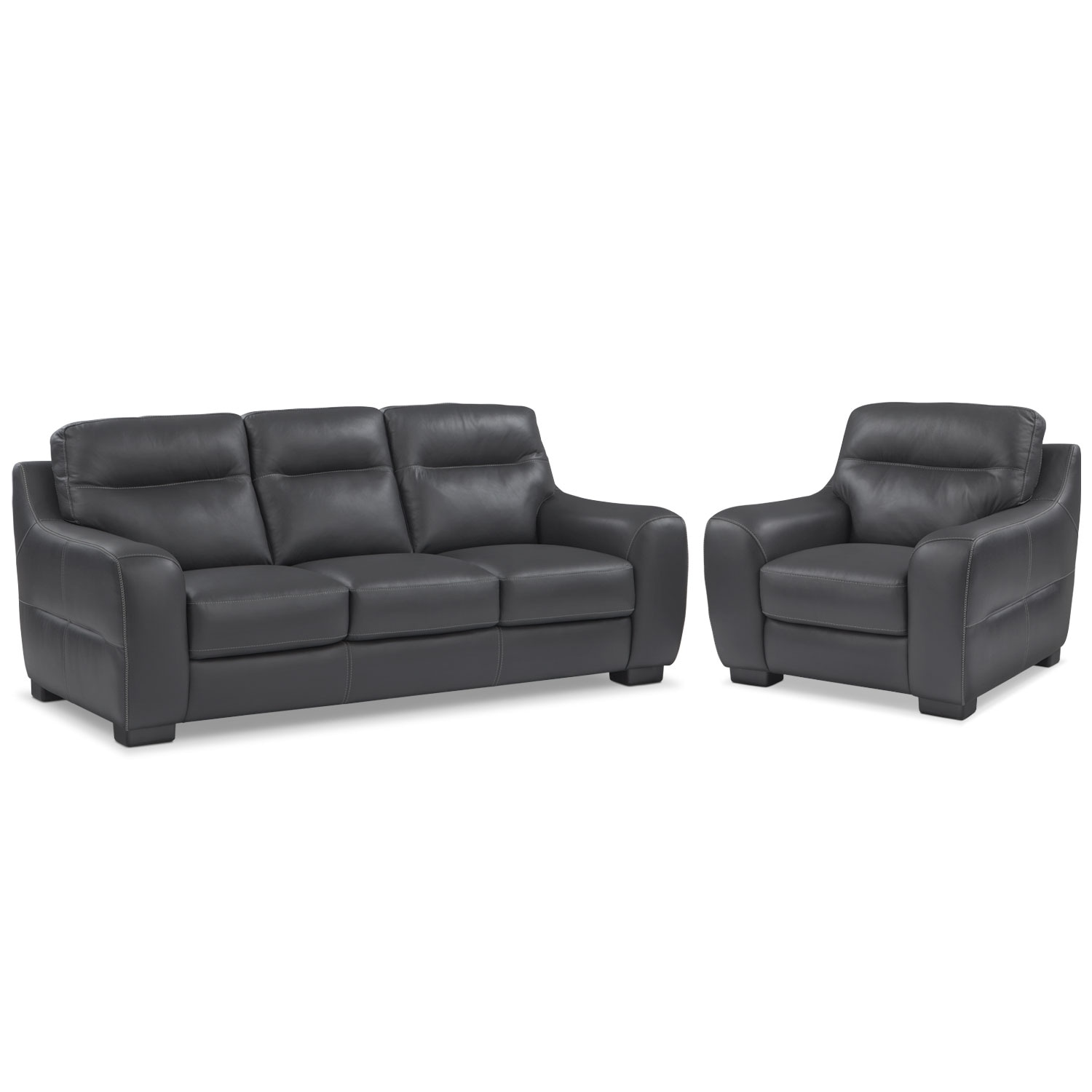 Living Room Furniture - Rocco Black 2 Pc. Living Room w/ Chair