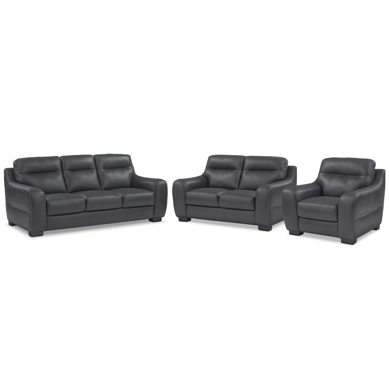 Living Room Furniture - Rocco Black 3 Pc. Living Room