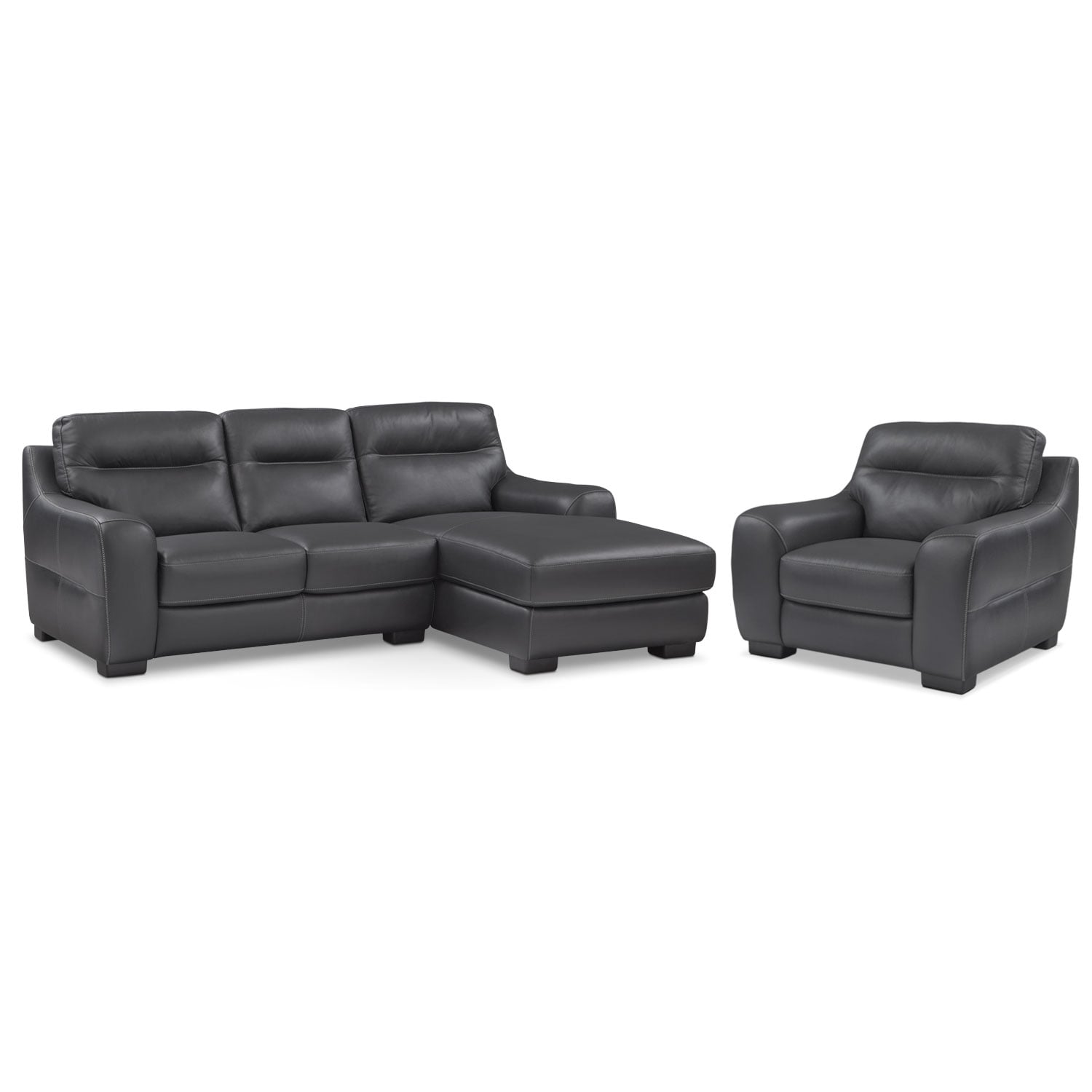 Living Room Furniture - Rocco 2-Piece Right-Facing Chaise Sectional and Chair  - Black
