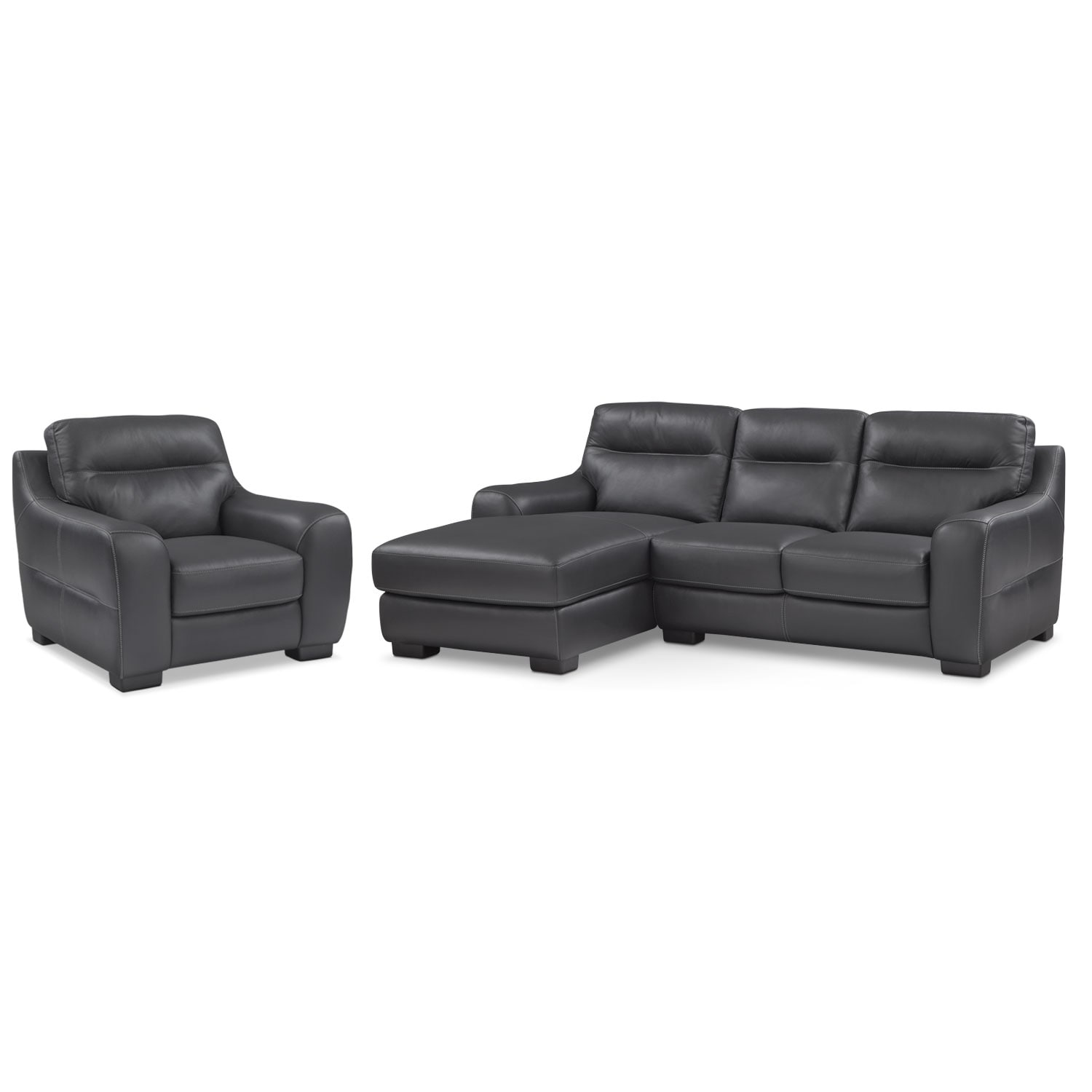 Living Room Furniture - Rocco Black 2 Pc. Left-Facing Chaise Sectional and Chair