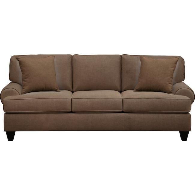 """Living Room Furniture - Bailey Roll Arm Sofa 91"""" Oakley III Java w/ Oakley III Java Pillow"""