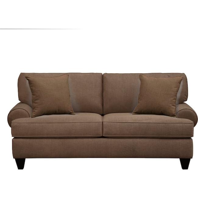 """Living Room Furniture - Bailey Roll Arm Sofa 79"""" Oakley III Java w/ Oakley III Java Pillow"""
