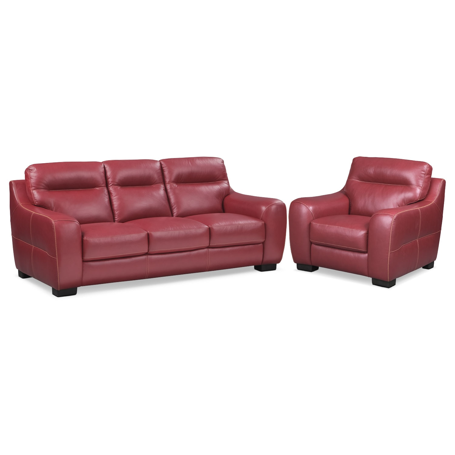 Living Room Furniture - Rocco Red 2 Pc. Living Room w/ Chair