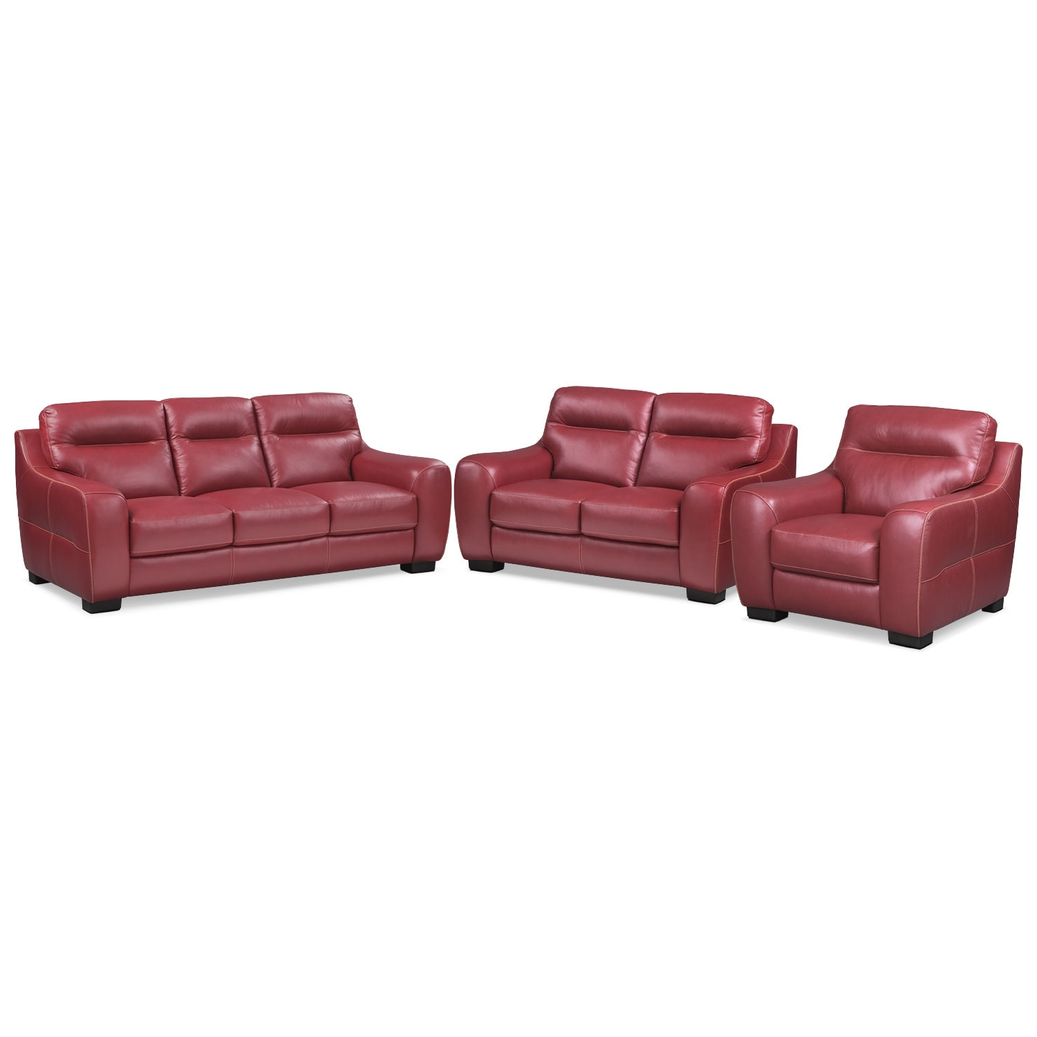 Living Room Furniture - Rocco Red 3 Pc. Living Room