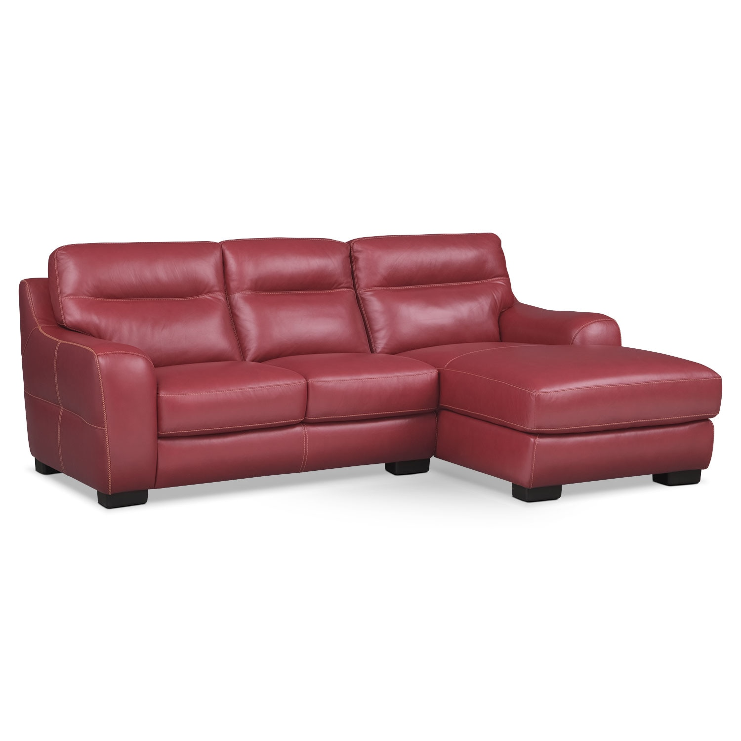 Living Room Furniture - Rocco 2-Piece Right-Facing Sectional - Red