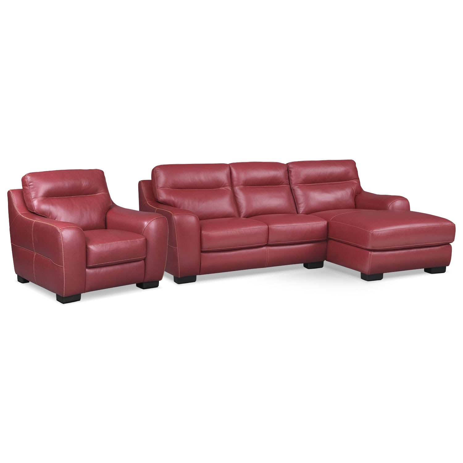Living Room Furniture - Rocco 2-Piece Right-Facing Chaise Sectional and Chair  - Red