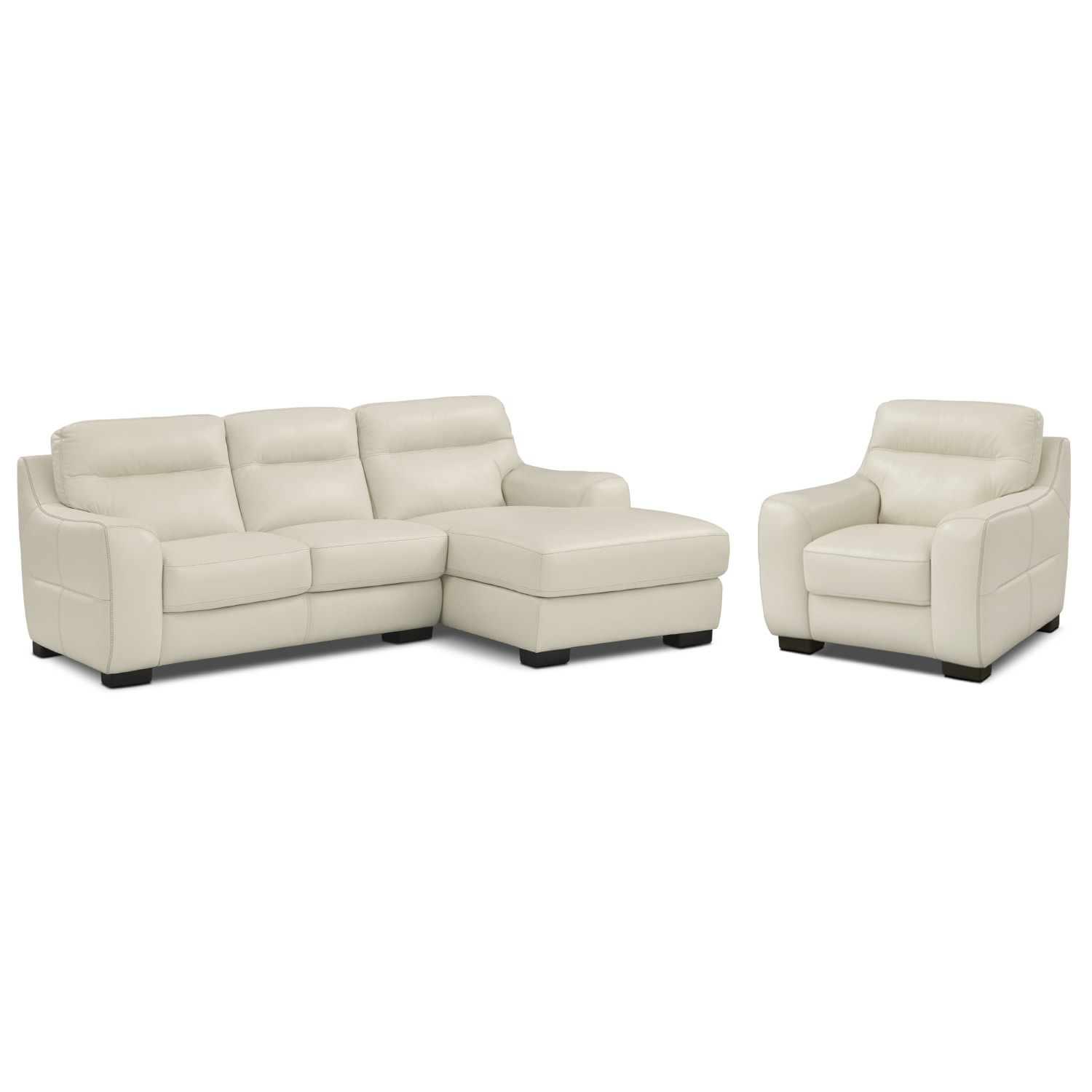 Living Room Furniture - Rocco Snow 2 Pc. Right-Facing Chaise Sectional and Chair