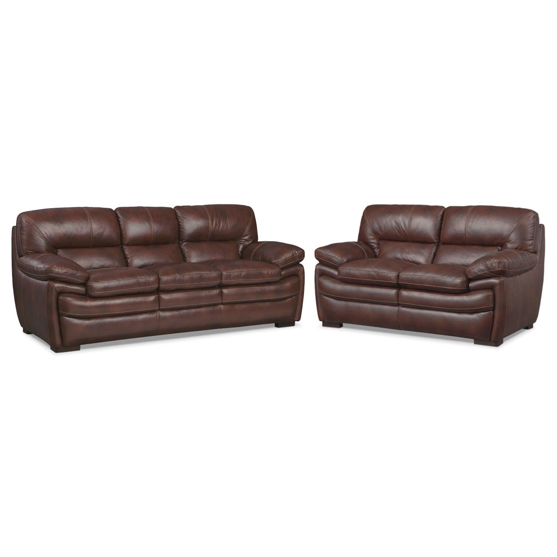Living Room Furniture - Peyton Chestnut 2 Pc. Living Room