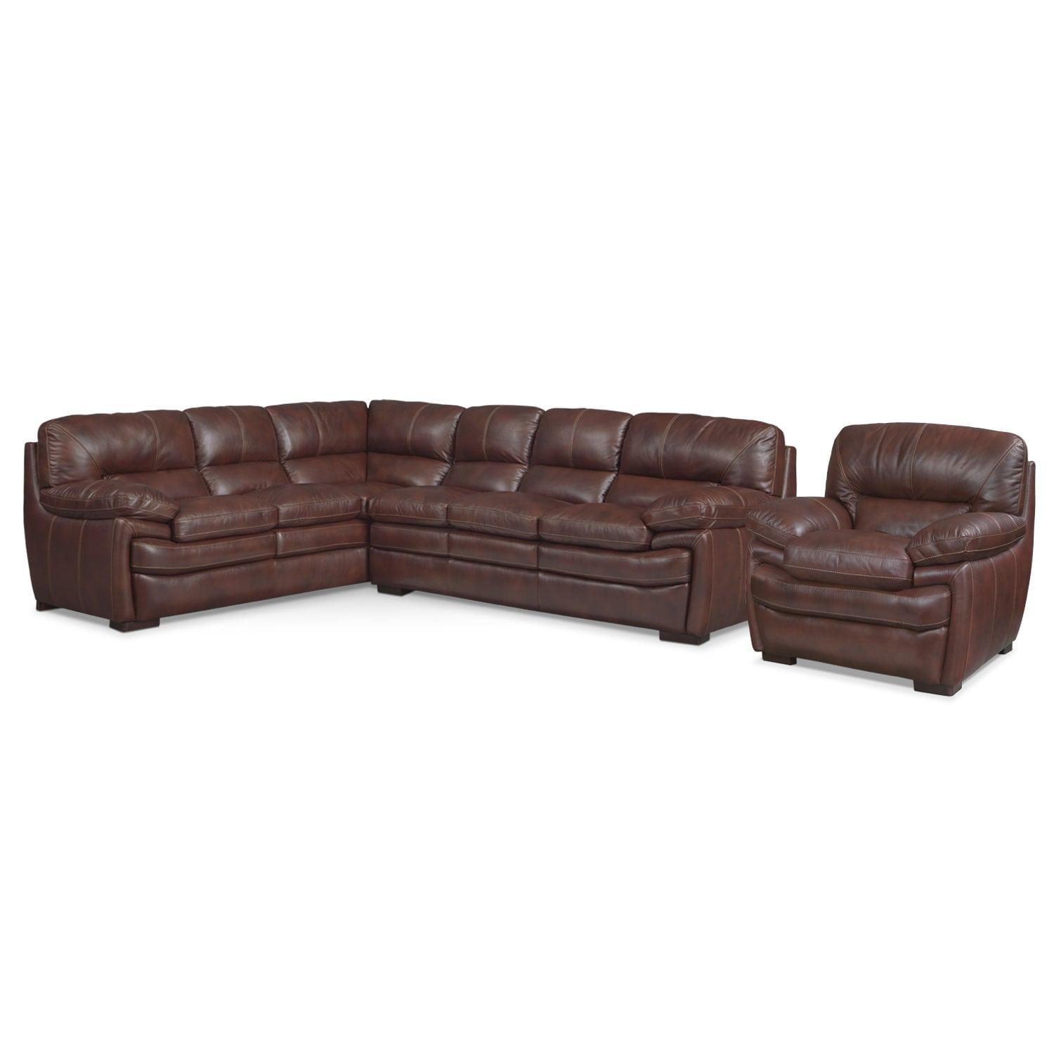 Living Room Furniture - Peyton Chestnut 2-Piece Sectional with Chair - Chestnut