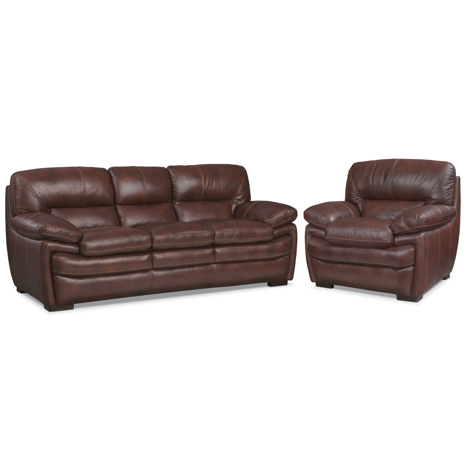 Living Room Furniture - Peyton Chestnut 2 Pc. Living Room w/ Chair