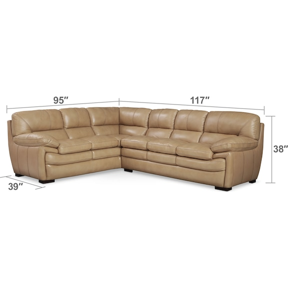 Living Room Furniture - Peyton Taupe 2-Piece Sectional - Taupe