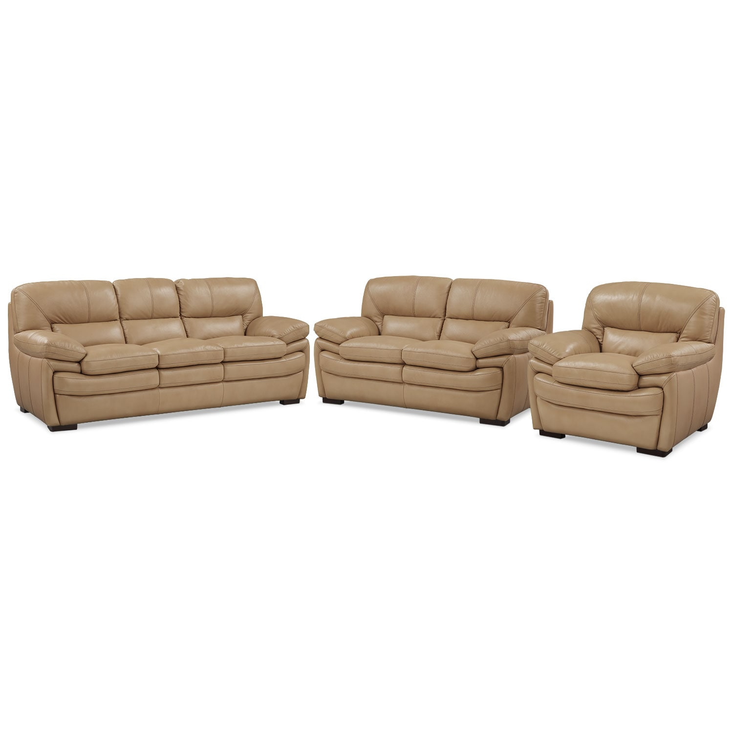 Living Room Furniture - Peyton Taupe 3 Pc. Living Room