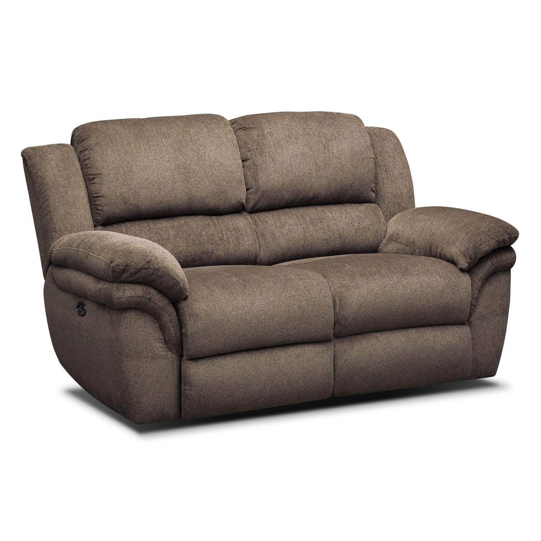Living Room Furniture - Aldo Power Reclining Loveseat - Mocha