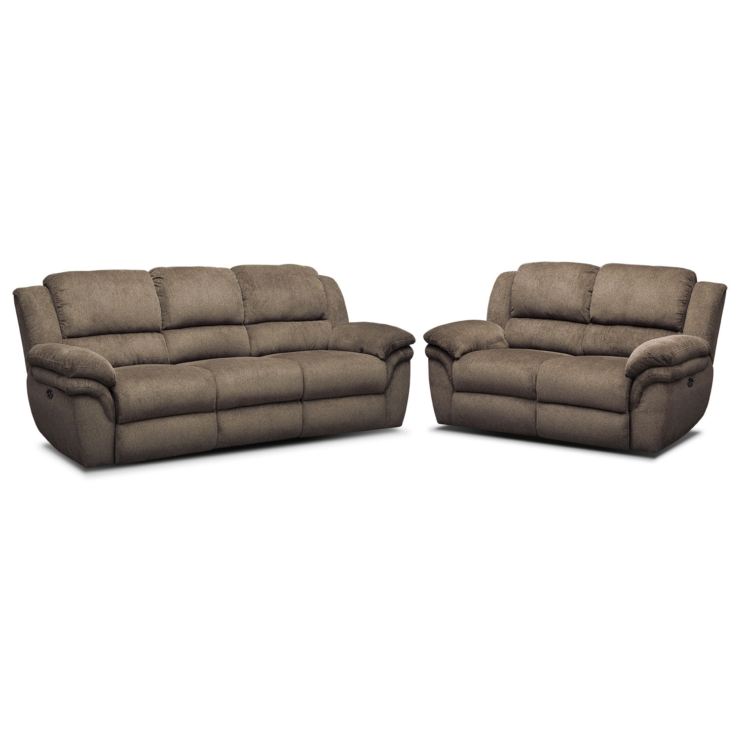 Aldo Power Reclining Sofa And Loveseat Set Mocha American Signature Furniture