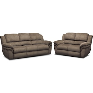 Aldo Dual-Power Reclining Sofa and Loveseat Set - Mocha