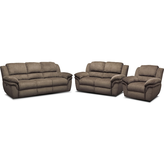 Living Room Furniture - Aldo Power Reclining Sofa, Loveseat + FREE RECLINER