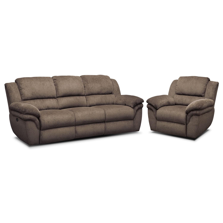 Living Room Furniture - Omni Mocha 2 Pc. Power Reclining Living Room w/ Power Recliner