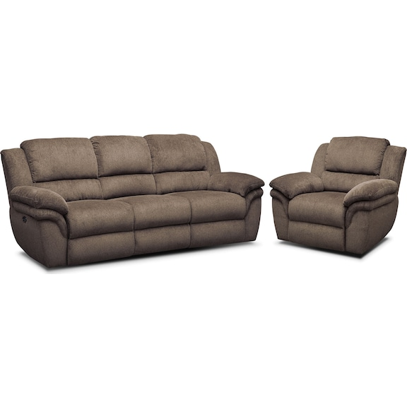 The Aldo Power Reclining Living Room Collection Mocha American Signature Furniture
