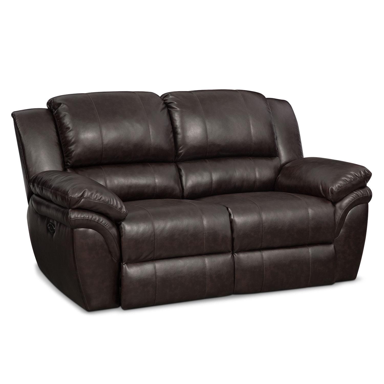 Living Room Furniture - Omni Brown Power Reclining Loveseat
