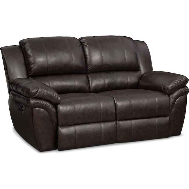 Living Room Furniture - Aldo Power Reclining Loveseat - Brown