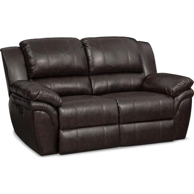 Living Room Furniture - Aldo Power Reclining Loveseat - Brown