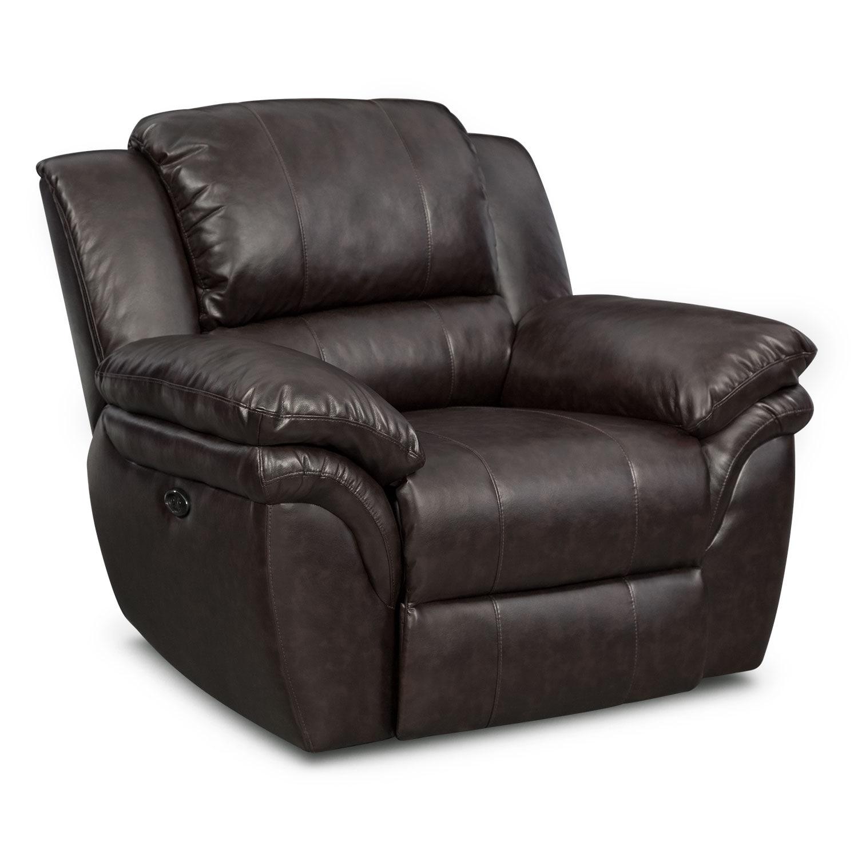 Living Room Furniture - Omni Brown Power Recliner