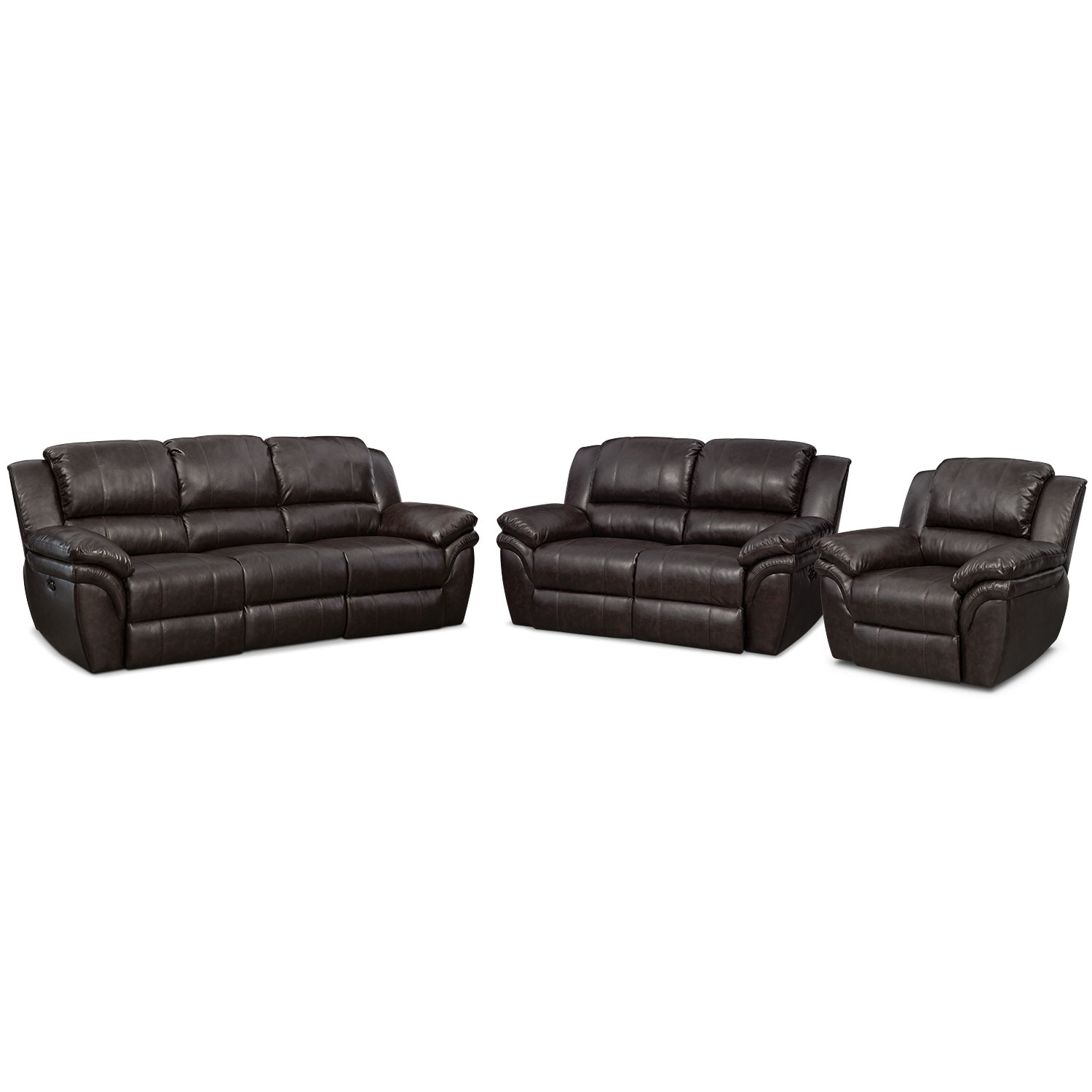 Living Room Furniture - Omni Brown 3 Pc. Power Reclining Living Room