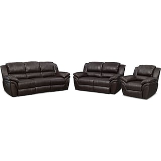 Aldo Power Reclining Sofa, Loveseat and Recliner Set - Brown