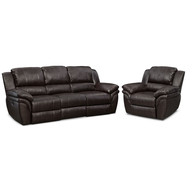 Living Room Furniture - Aldo Dual-Power Reclining Sofa and Recliner Set