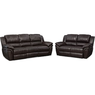 Aldo Power Reclining Sofa and Loveseat Set - Brown