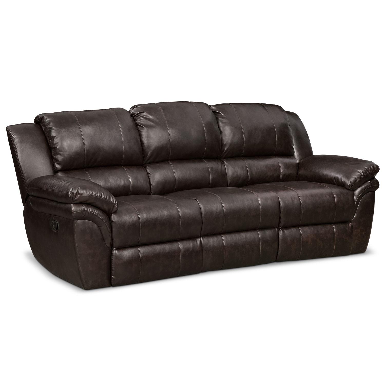 Living Room Furniture - Omni Brown Manual Reclining Sofa
