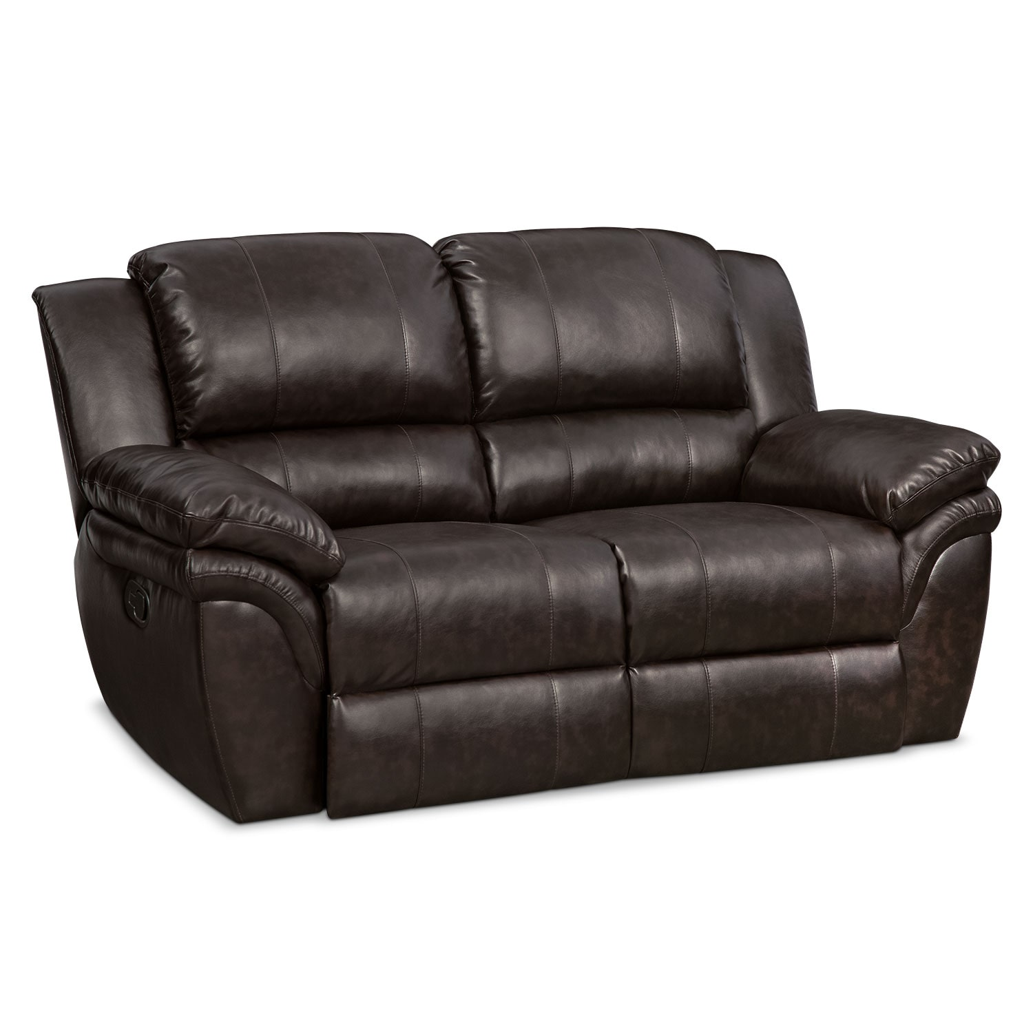 aldo manual reclining loveseat brown by factory outlet