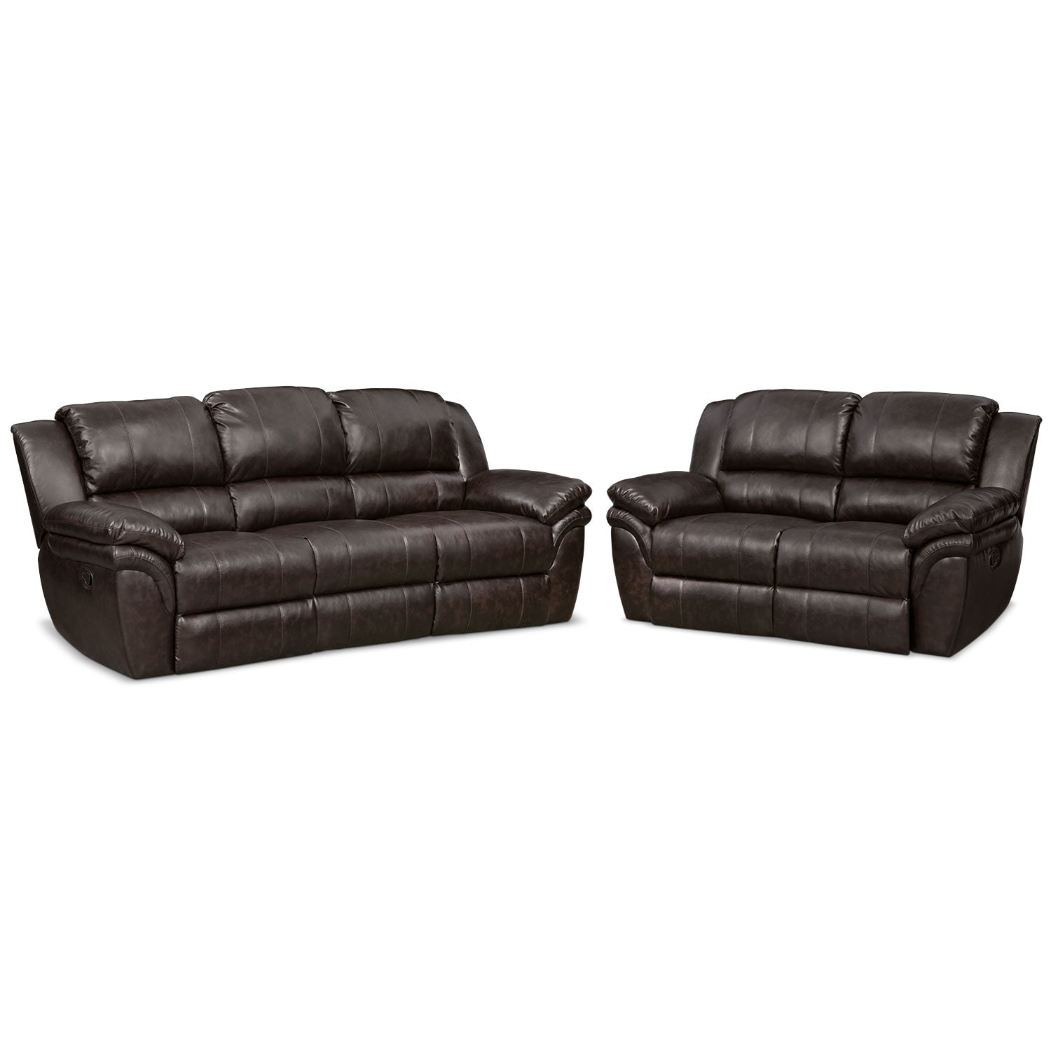 Living Room Furniture - Omni Brown 2 Pc. Manual Reclining Living Room