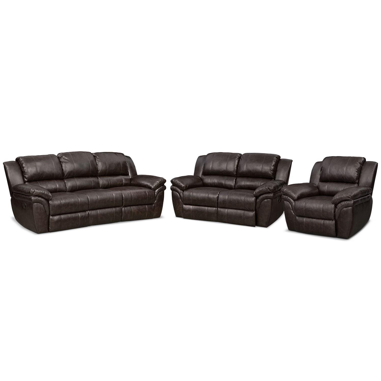 Aldo Manual Dual-Reclining Sofa & Loveseat Plus FREE Recliner Set - Brown