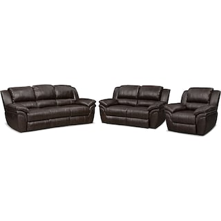 Aldo Manual Reclining Sofa, Loveseat + FREE RECLINER - Brown
