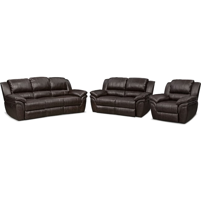 Living Room Furniture - Aldo Manual Reclining Sofa, Loveseat and Recliner Set