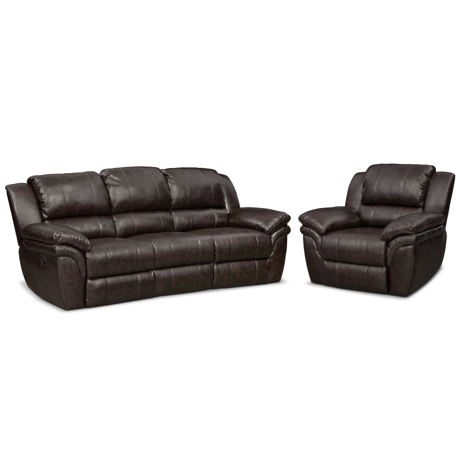 Living Room Furniture - Aldo Manual Reclining Sofa and Recliner Set