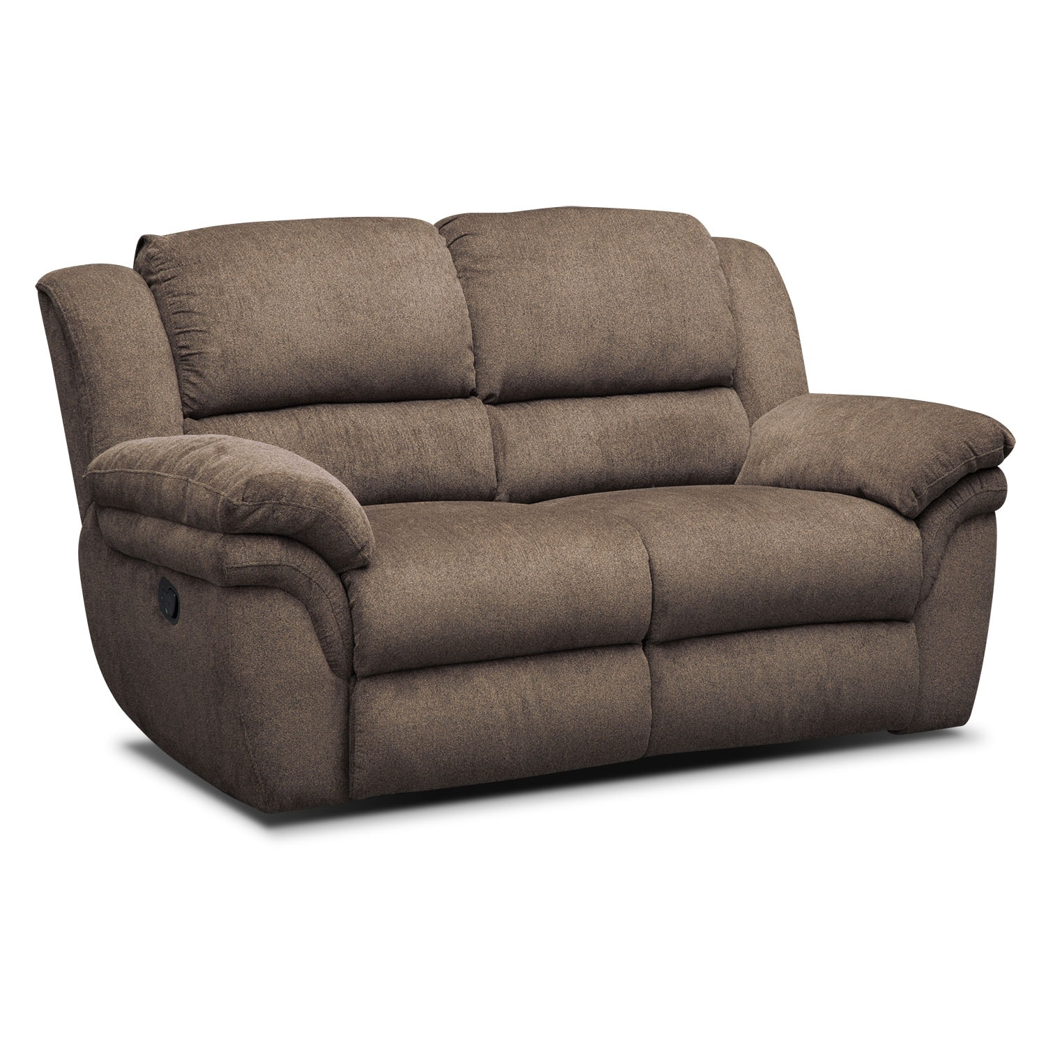 Aldo manual dual reclining sofa loveseat and recliner set mocha american signature furniture Loveseats that recline