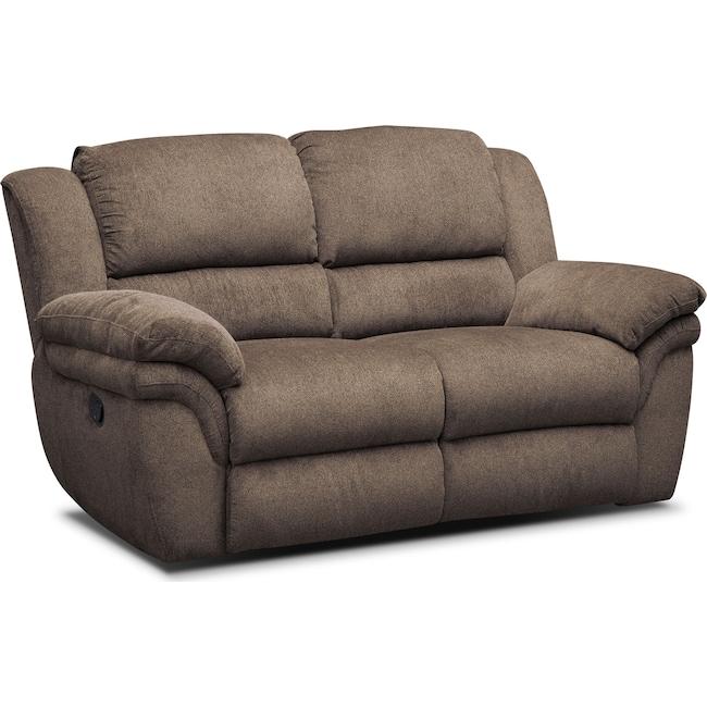 Living Room Furniture - Aldo Manual Reclining Loveseat - Mocha