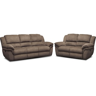 Aldo Manual Reclining Sofa and Loveseat Set