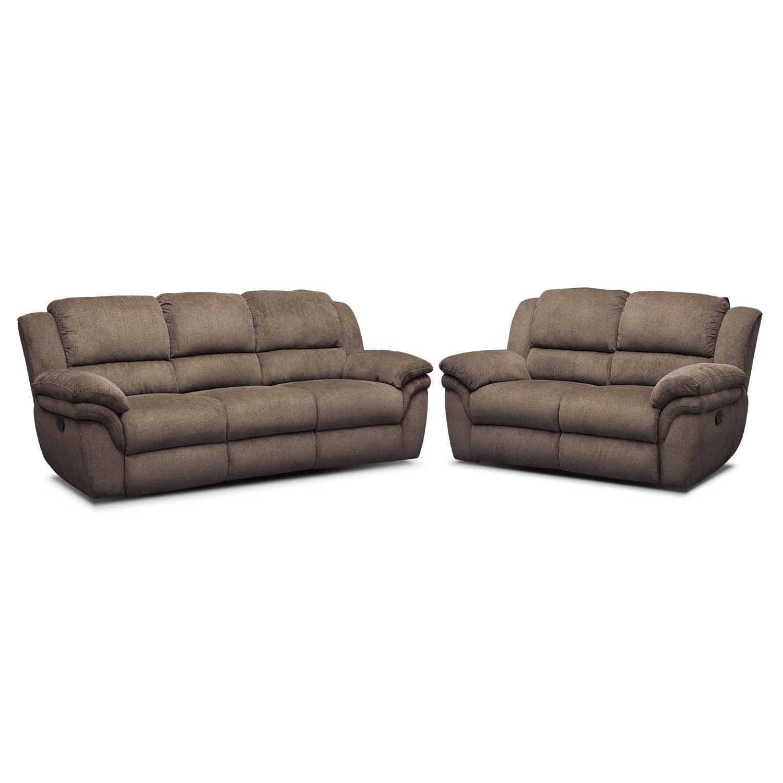 Living Room Furniture   Aldo Manual Reclining Sofa And Loveseat Set   Mocha