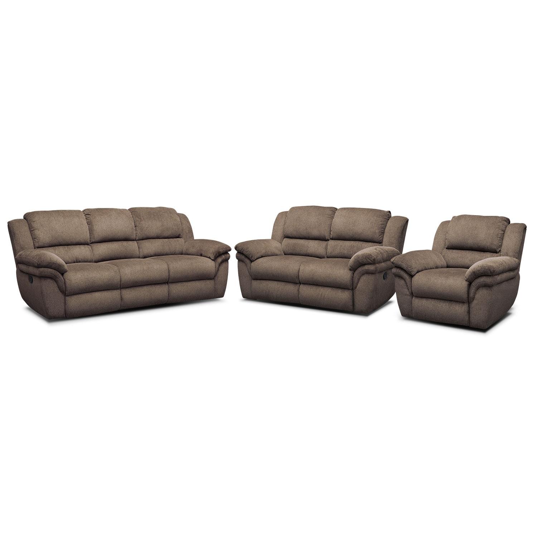 Aldo Manual Dual Reclining Sofa Loveseat And Recliner Set Mocha American Signature Furniture