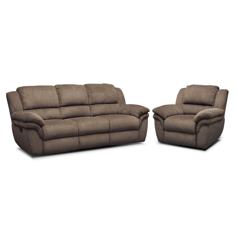 Living Room Furniture - Omni Mocha 2 Pc. Manual Reclining Living Room w/ Recliner