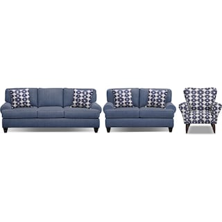 "Bailey Blue 91"" Sofa, 67"" Sofa and Accent Chair Set"