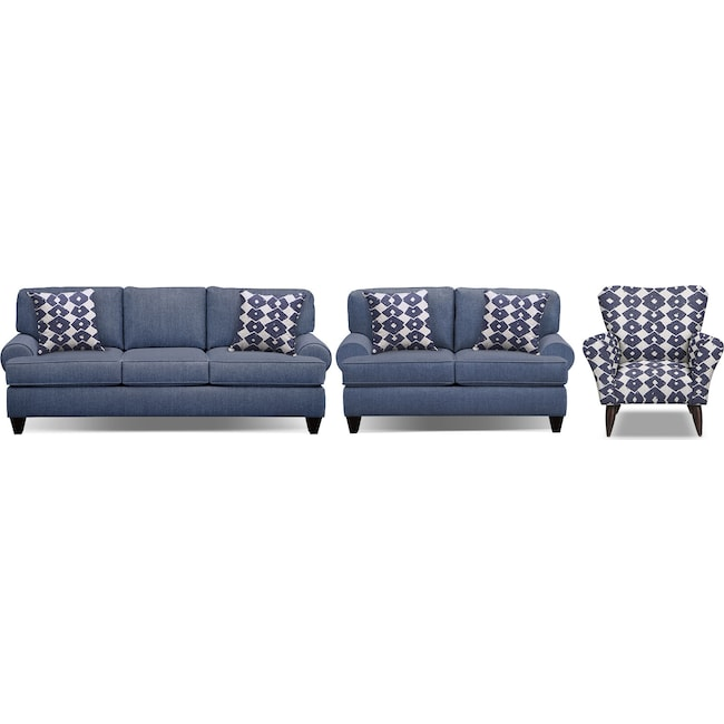 "Living Room Furniture - Bailey Blue 91"" Sofa, 67"" Sofa and Accent Chair Set"