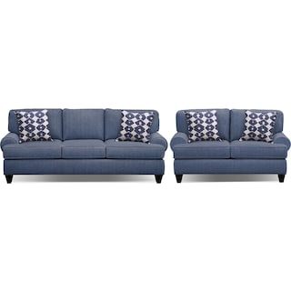 "Bailey Blue 91"" Sleeper Sofa and 67"" Sofa Set"