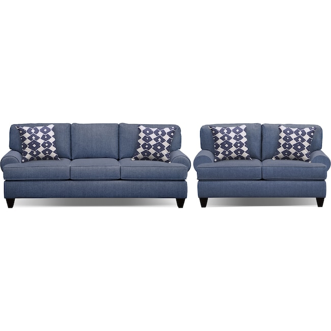 "Living Room Furniture - Bailey Blue 91"" Sleeper Sofa and 67"" Sofa Set"